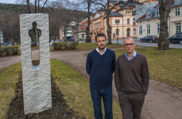 David Greig and Ramin Gray, beside a memorial to the victims of July 22 2011, near the  Drammens Teater, Norway.